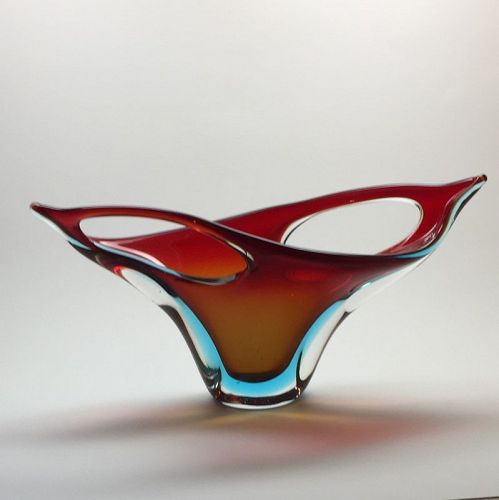 Fratelli Toso Sommerso Sculptural Bowl Form