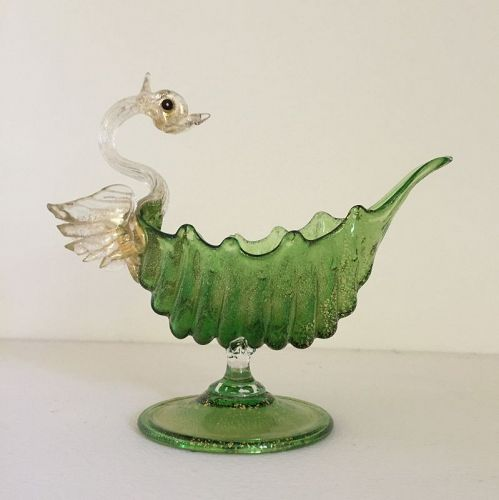 Salviati Vintage Glass Green Shell Pedestal Bowl with Swan 1900s