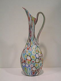 Vintage Murano Glass Murrine Pitcher by Fratelli Toso