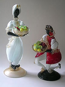 Vintage Murano Black Moor  figurines by Alfredo Barbini