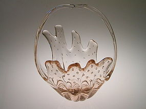 Vintage Murano Glass Sculptural basket form.