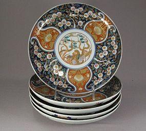 Five Japanese Imari Porcelain Dishes Circa 1880