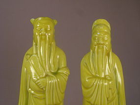 Two Chinese Yellow Porcelain Figurines Circa 1920