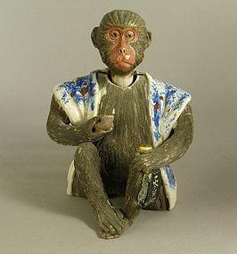 Japanese Banko Ware Nodding Head Monkey C1900