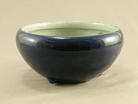 Chinese Porcelain Blue Glazed Incense Bowl 19th Century