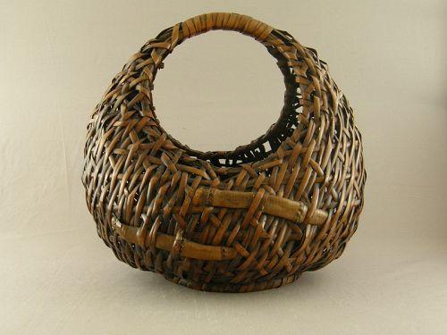 Japanese Bamboo Ikebana Basket Circa 1920