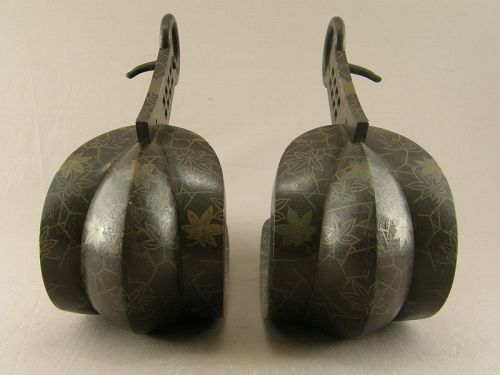 Pair Japanese Iron Horse Stirrups With Maple Leaf Design Edo Period