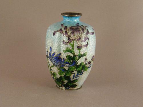 Japanese Ginbari Cloisonne Lobed Vase Circa 1910