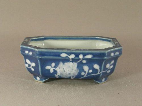 Chinese White on Blue Porcelain Bulb Bowl Circa 1900