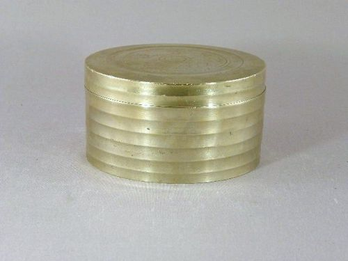 Korean White Brass Round Tobacco Box Circa 1900