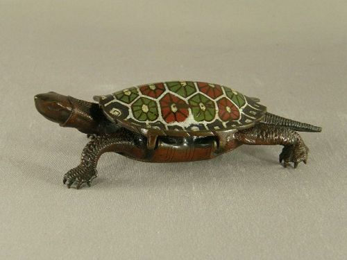 Japanese Champleve Decorated Signed Bronze Turtle Box Circa 1900