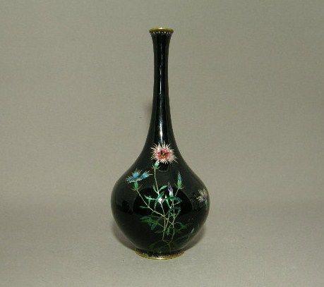 Japanese Cloisonne Bottle Ginbari Foil Flowers Circa 1900