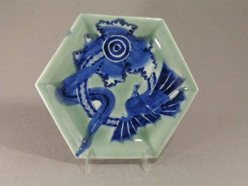 Japanese Blue and Green Imari Dragon Plate 19th Century