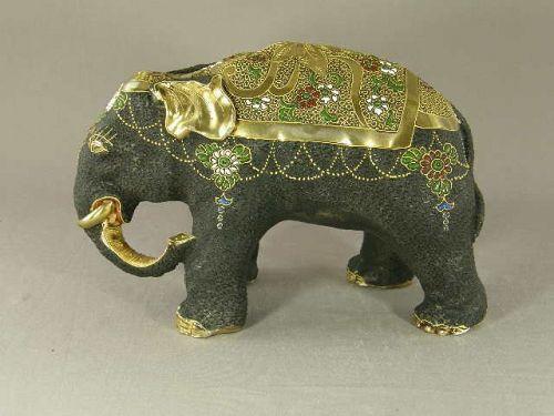 Japanese Kutani Porcelain Elephant Circa 1920