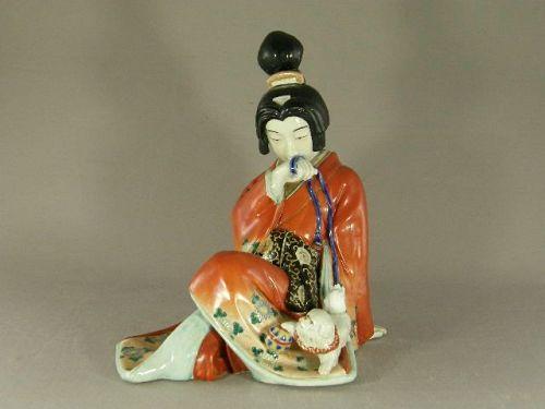 Japanese Kutani Porcelain Geisha Okimono Circa 1920
