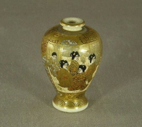 Miniature Satsuma Vase Marked Meiji period
