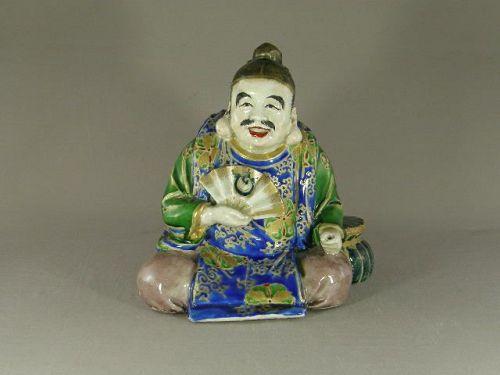 "Japanese Porcelain Satsuma Ebisu Figurine Signed ""Jukan"" Circa 1900"