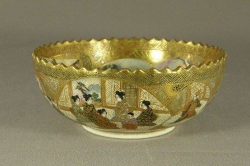 Japanese Satsuma Bowl Marked Kinkozan Meiji Period