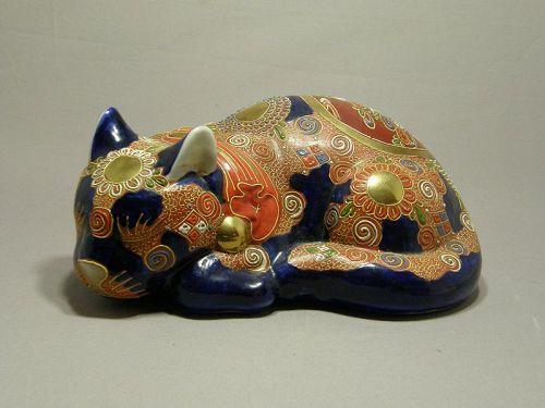 Japanese Kutani Porcelain Moriage Painted Sleeping Cat Circa 1930