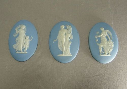 Three Wedgwood Light Blue Jasper Ware Plaques Antique Frames 1800's