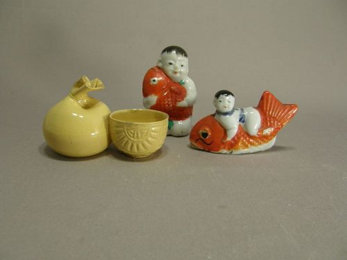 Three Japanese Ceramic Water Droppers Early 20th Century