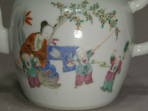 Small Chinese Porcelain Famille Rose Teapot 19th Century