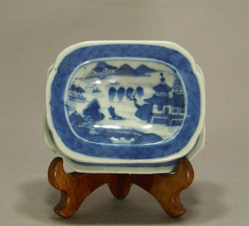 Chinese Blue and White Canton Pattern Trencher Salt Circa 1850