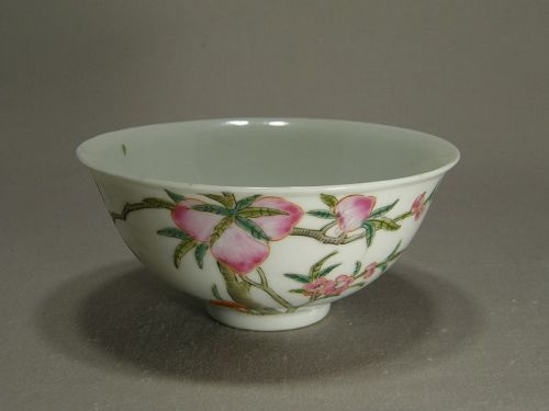 Small Chinese Porcelain Famille Rose Bowl Nine Peaches Circa 1900
