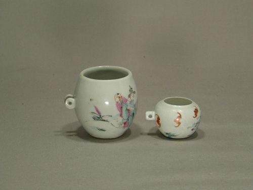 Two Antique Porcelain Famille Rose Bird Feeders Circa 1900
