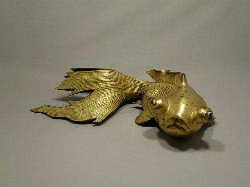 Large Chinese Wooden Goldfish Glass Eyes Fan Tail Circa 1920