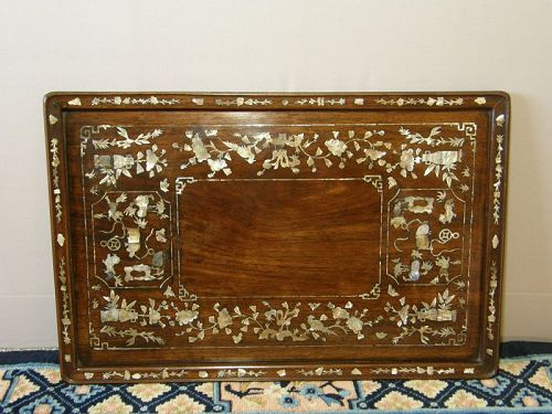 Chinese Tray Mother-of-Pearl Inlay Hung-mu wood 19th Century