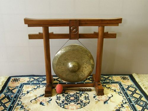 South East Asian Brass Gong Wooden Stand Mallet 19th Century
