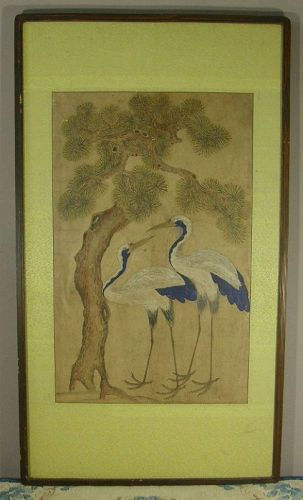 Korean Minhwa Painting Cranes Pine Tree Mulberry Early 20th Century