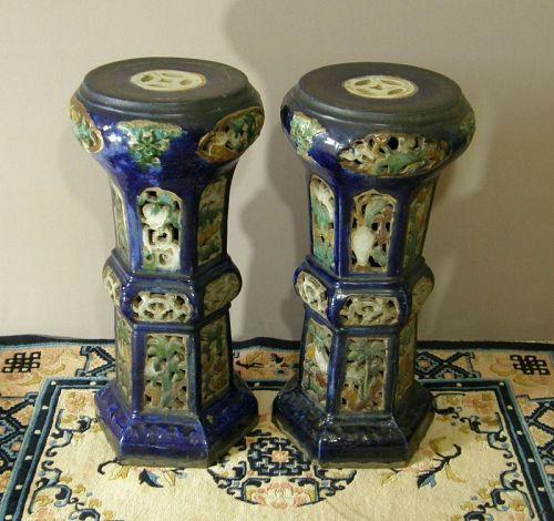 Pair Chinese Glazed Stoneware Garden Stands Circa 1920