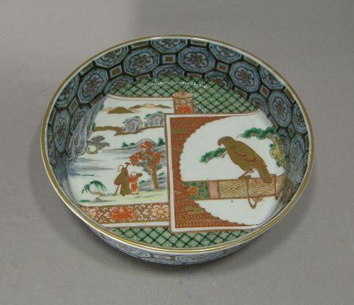 Japanese Porcelain Imari Bowl Brocade Scroll Hawk 19th Century