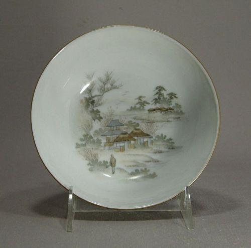 Japanese Porcelain Kutani Bowl Village Lake Marked Meiji Period