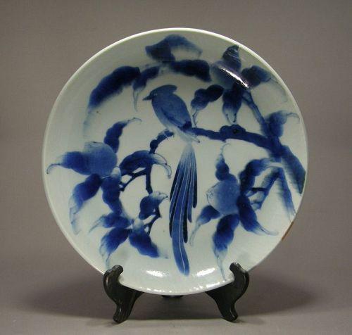 Japanese Porcelain Arita Blue White Charger Sometsuke Edo Period