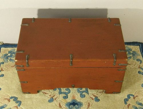 Korean Folk Art Writting Box Lacquer Pinewood Iron Hardware Circa 1900