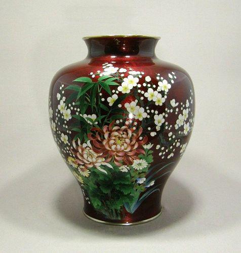 Large Japanese Cloisonne Vase Pigeon Blood Ginbari Ando Circa 1920