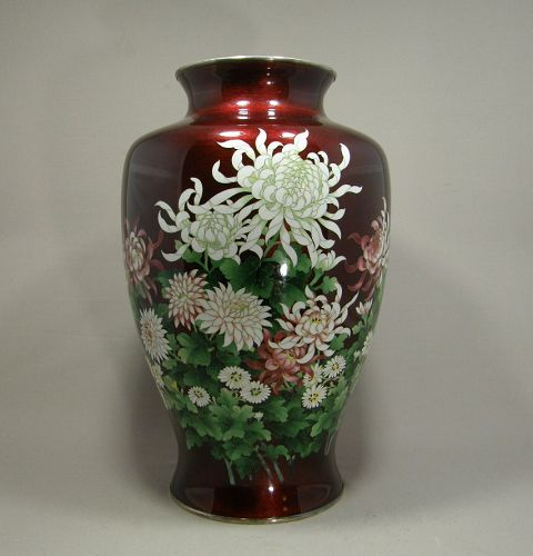 Very Large Japanese Cloisonne Vase Red Ginbari Flowers Circa 1960