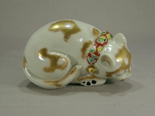 Japanese Kutani Porcelain Sleeping Cat Right Side Circa 1910