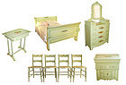 Rare Eight Piece  Painted Cottage  Bedroom Set