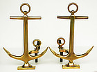 Brass Anchor Andirons