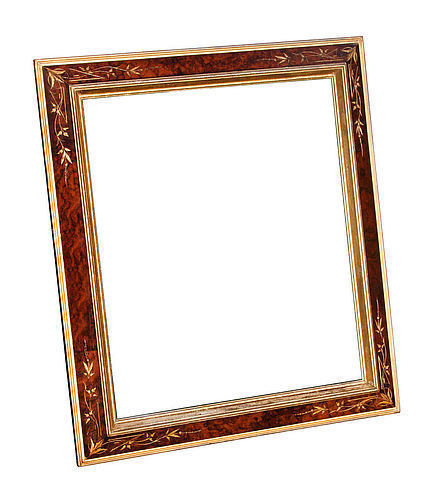 Exceptional Victorian Large Burled Walnut Veneer Frame