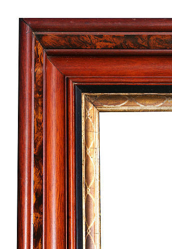 Large Antique Walnut Picture Frame, Exceptional, Faux Burl
