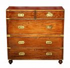 19th C. Mahogany English Campaign Chest