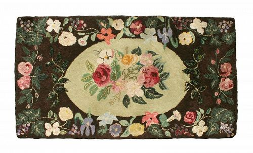 Antique Hand Hooked Floral Rug