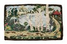Antique Hand Hooked Rug, Exceptional, Landscape with House