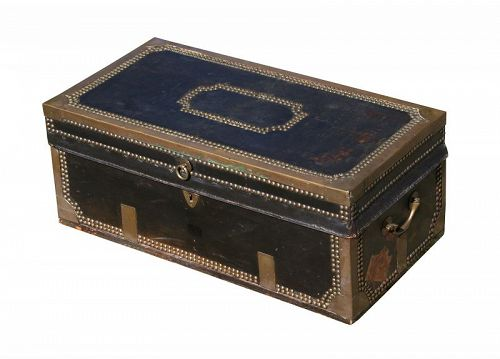 Camphorwood Chest, Leather and Brass Bound