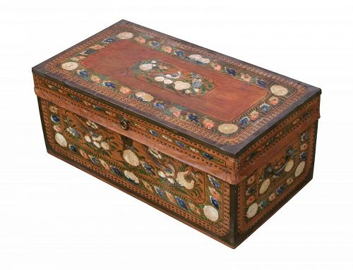 19th Century Rare Paint Decorated Antique Camphorwood Chest